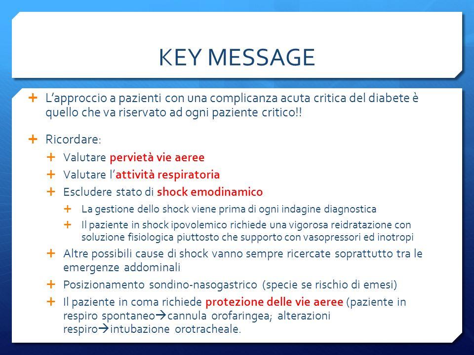 KEY MESSAGE Lapproccio a pazienti con una complicanza acuta critica del diabete è quello che va riservato ad ogni paziente critico!.