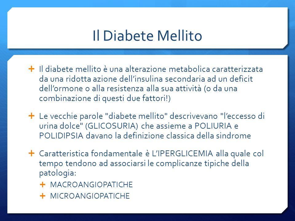 Il Diabete Mellito Il diabete mellito è una alterazione metabolica caratterizzata da una ridotta azione dellinsulina secondaria ad un deficit dellormone o alla resistenza alla sua attività (o da una combinazione di questi due fattori!) Le vecchie parole diabete mellito descrivevano leccesso di urina dolce (GLICOSURIA) che assieme a POLIURIA e POLIDIPSIA davano la definizione classica della sindrome Caratteristica fondamentale è LIPERGLICEMIA alla quale col tempo tendono ad associarsi le complicanze tipiche della patologia: MACROANGIOPATICHE MICROANGIOPATICHE