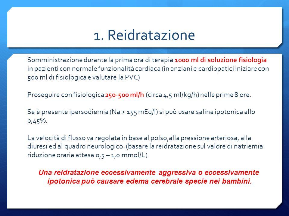 1. Reidratazione Somministrazione durante la prima ora di terapia 1000 ml di soluzione fisiologia in pazienti con normale funzionalità cardiaca (in an