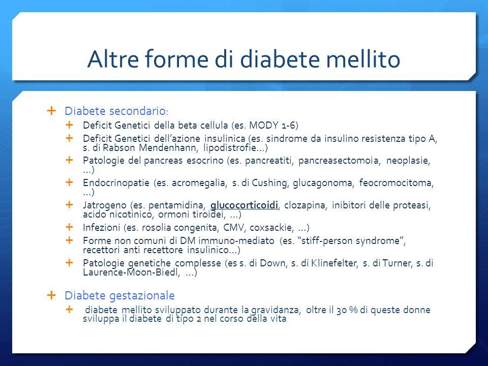 Altre forme di diabete mellito Diabete secondario: Deficit Genetici della beta cellula (es.