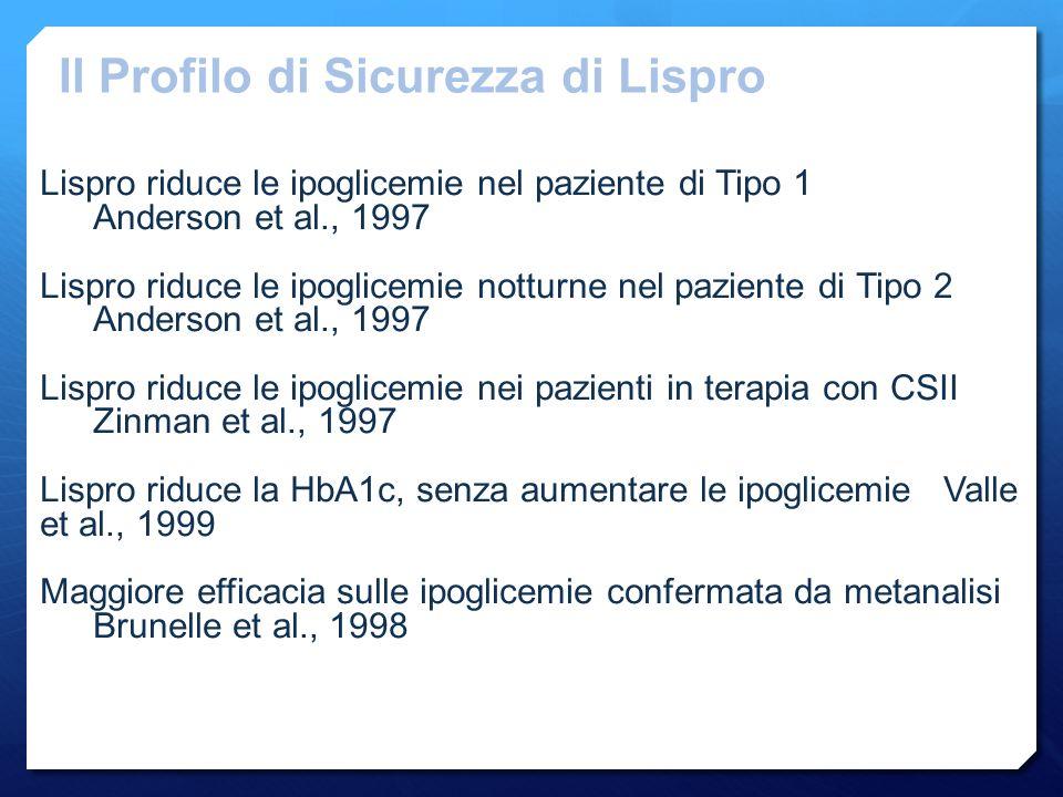 Lispro riduce le ipoglicemie nel paziente di Tipo 1 Anderson et al., 1997 Lispro riduce le ipoglicemie notturne nel paziente di Tipo 2 Anderson et al., 1997 Lispro riduce le ipoglicemie nei pazienti in terapia con CSII Zinman et al., 1997 Lispro riduce la HbA1c, senza aumentare le ipoglicemieValle et al., 1999 Maggiore efficacia sulle ipoglicemie confermata da metanalisi Brunelle et al., 1998 Il Profilo di Sicurezza di Lispro