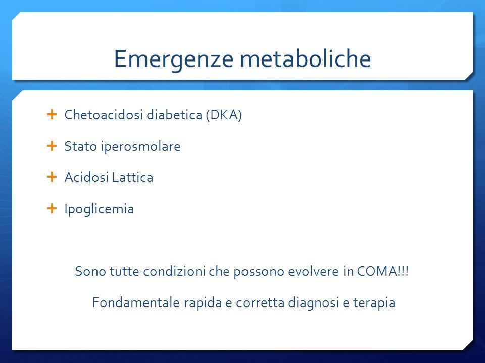 Emergenze metaboliche Chetoacidosi diabetica (DKA) Stato iperosmolare Acidosi Lattica Ipoglicemia Sono tutte condizioni che possono evolvere in COMA!!.