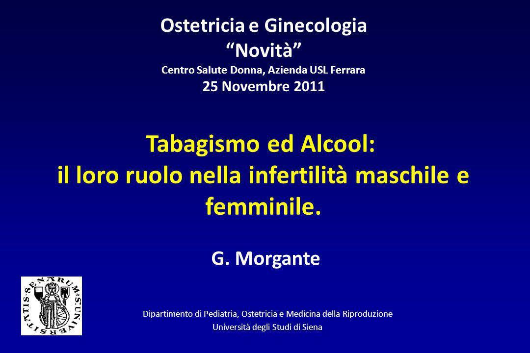 Ostetricia e Ginecologia Novità Centro Salute Donna, Azienda USL Ferrara 25 Novembre 2011 Tabagismo ed Alcool: il loro ruolo nella infertilità maschil