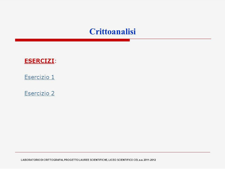 Crittoanalisi ESERCIZI: Esercizio 1 Esercizio 2 LABORATORIO DI CRITTOGRAFIA, PROGETTO LAUREE SCIENTIFICHE, LICEO SCIENTIFICO CEI, a.a. 2011-2012