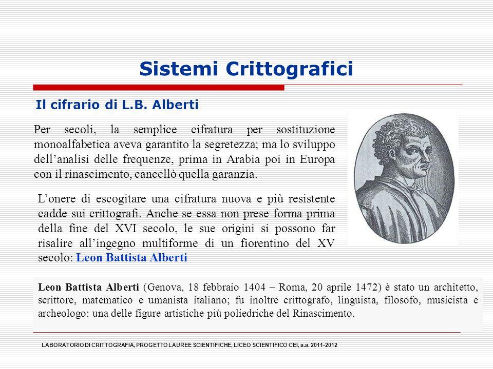 Sistemi Crittografici Il cifrario di L.B. Alberti LABORATORIO DI CRITTOGRAFIA, PROGETTO LAUREE SCIENTIFICHE, LICEO SCIENTIFICO CEI, a.a. 2011-2012 Leo