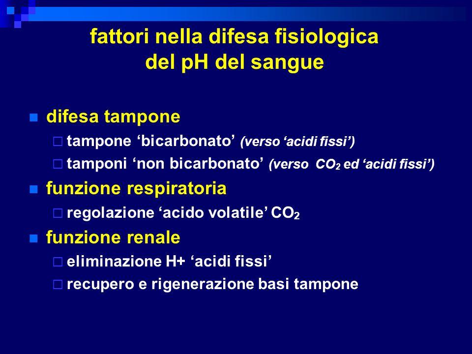 fattori nella difesa fisiologica del pH del sangue difesa tampone tampone bicarbonato (verso acidi fissi) tamponi non bicarbonato (verso CO 2 ed acidi
