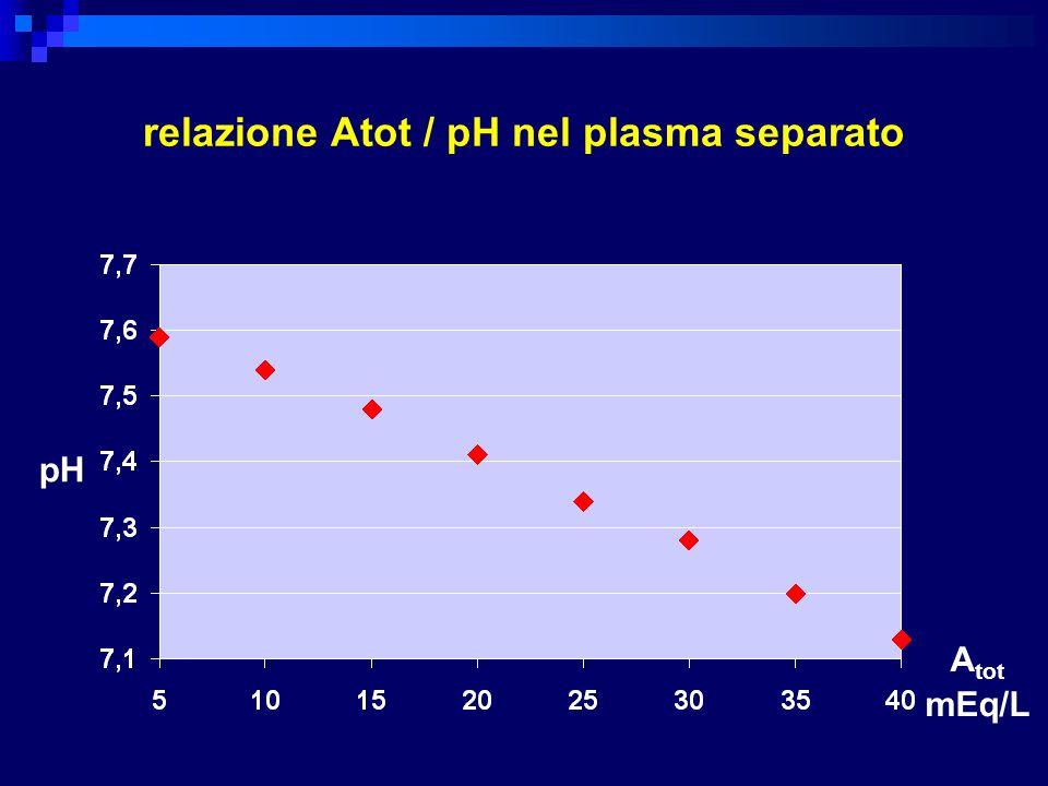 relazione Atot / pH nel plasma separato A tot mEq/L pH