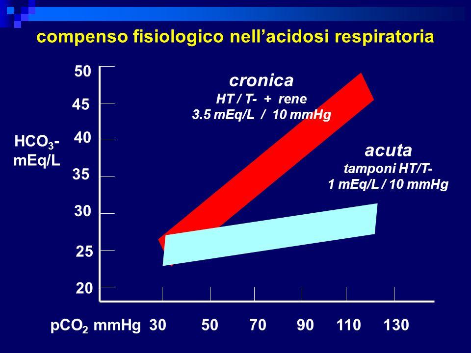compenso fisiologico nellacidosi respiratoria 50 45 40 35 30 25 20 30 50 70 90 110 130 cronica HT / T- + rene 3.5 mEq/L / 10 mmHg acuta tamponi HT/T-