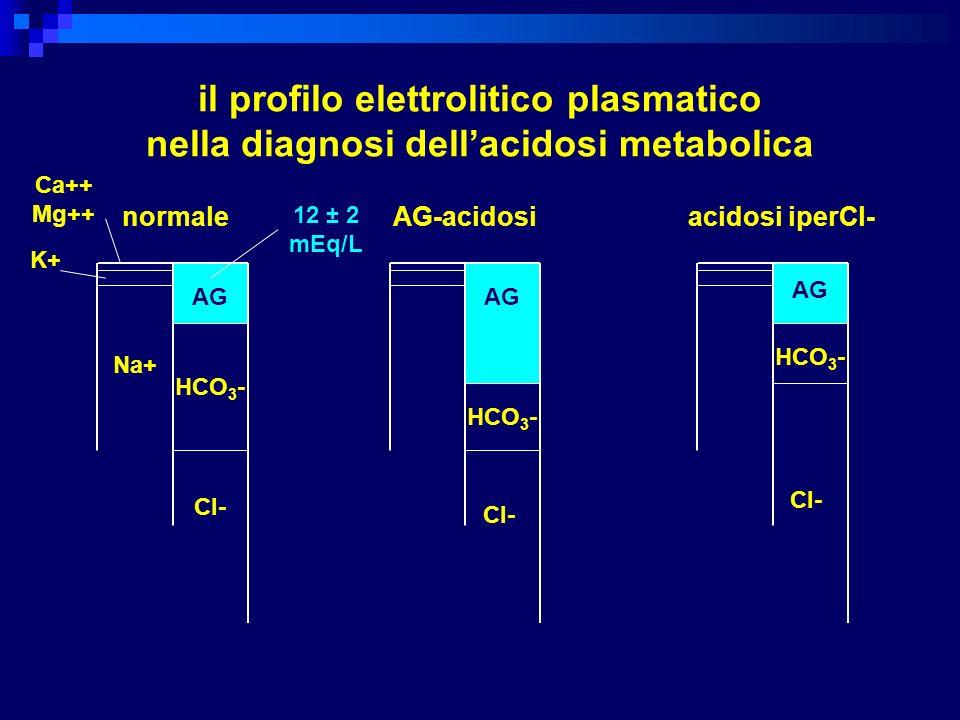 il profilo elettrolitico plasmatico nella diagnosi dellacidosi metabolica Ca++ Mg++ K+ Na+ AG HCO 3 - Cl- AG HCO 3 - Cl- HCO 3 - AG Cl- normale AG-aci