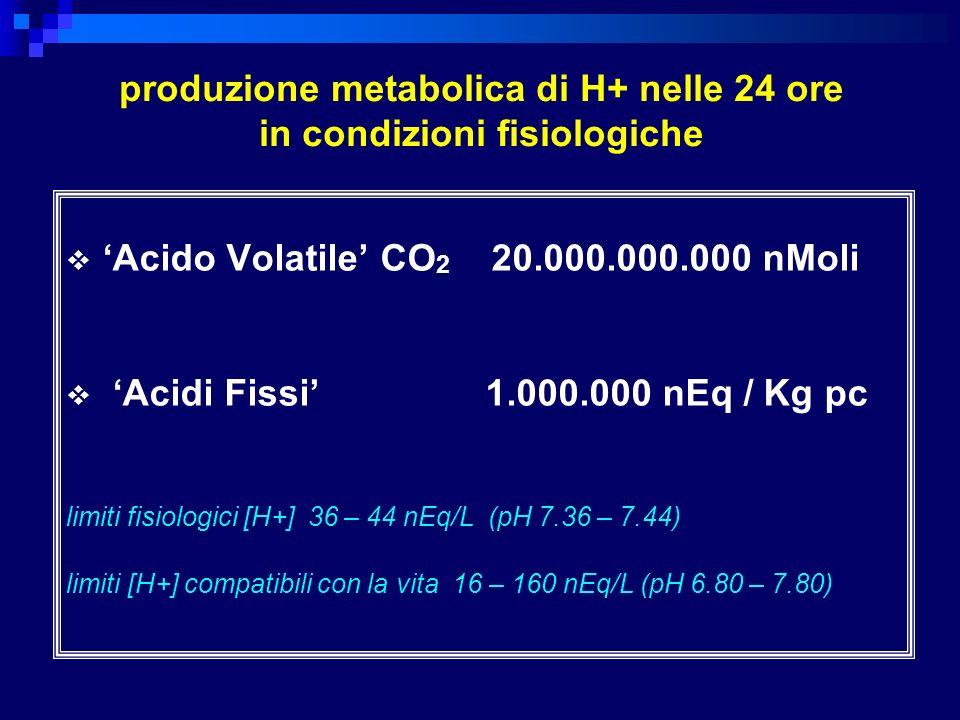 limiti fisiologici di compenso nei disordini acido-base respiratori acidosi acuta: pCO 2 1 mmHg, HCO 3 - 0.1 mEq/L cronica: pCO 2 1 mmHg, HCO 3 - 0.4 mEq/L alcalosi acuta: pCO 2 1 mmHg, HCO 3 - 0.2 mEq/L cronica: pCO 2 1 mmHg, HCO 3 - 0.5 mEq/L