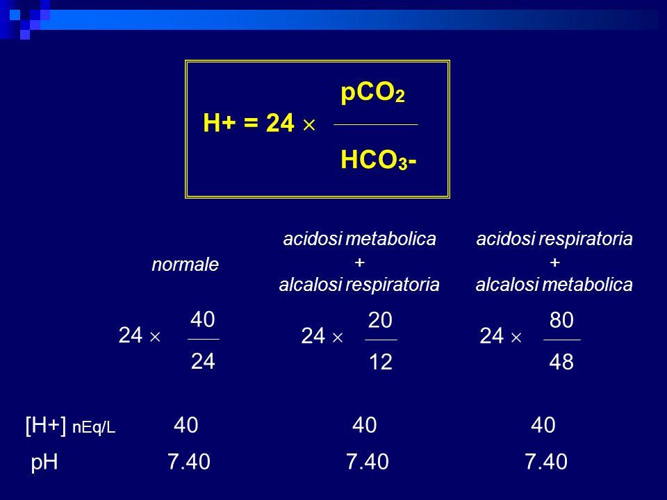 H+ = 24 pCO 2 HCO 3 - 24 40 24 [H+] nEq/L pH 24 20 12 80 48 24 40 7.40 40 7.40 40 7.40 normale acidosi metabolica + alcalosi respiratoria acidosi resp