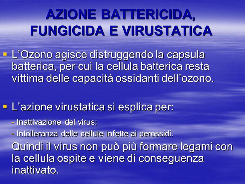 AZIONE BATTERICIDA, FUNGICIDA E VIRUSTATICA LOzono agisce distruggendo la capsula batterica, per cui la cellula batterica resta vittima delle capacità