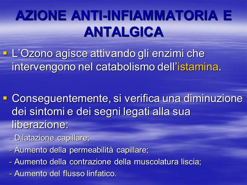 AZIONE ANTI-INFIAMMATORIA E ANTALGICA LOzono agisce attivando gli enzimi che intervengono nel catabolismo dellistamina. LOzono agisce attivando gli en