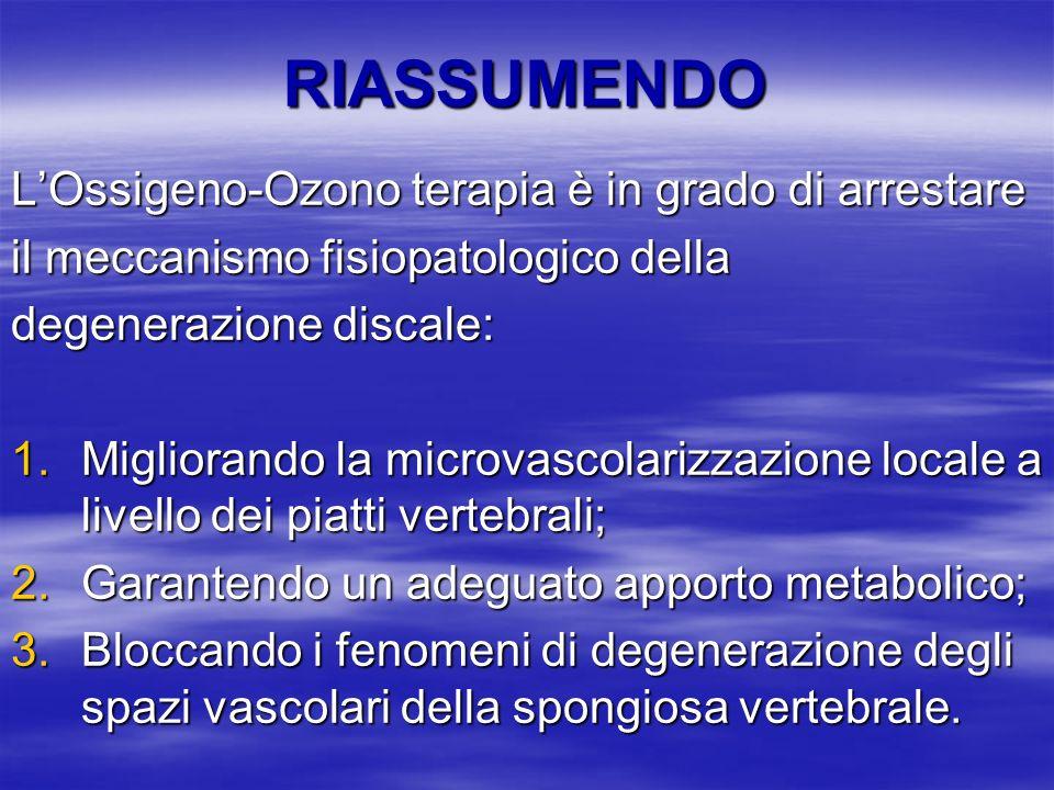 RIASSUMENDO LOssigeno-Ozono terapia è in grado di arrestare il meccanismo fisiopatologico della degenerazione discale: 1.Migliorando la microvascolari