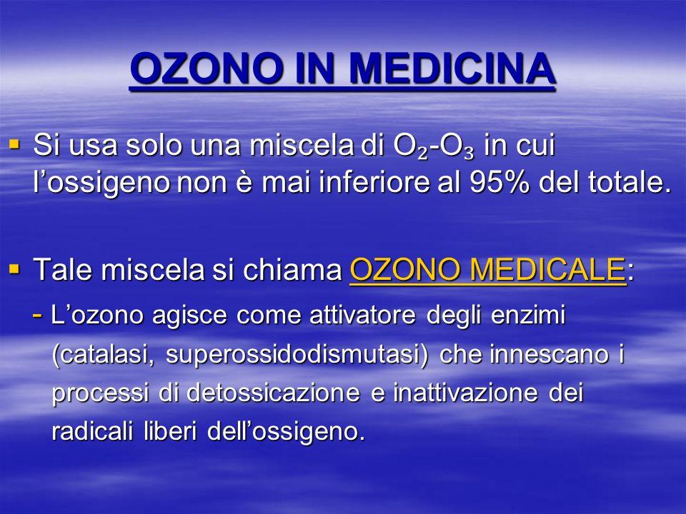 OZONO IN MEDICINA Si usa solo una miscela di O -O in cui lossigeno non è mai inferiore al 95% del totale. Si usa solo una miscela di O -O in cui lossi