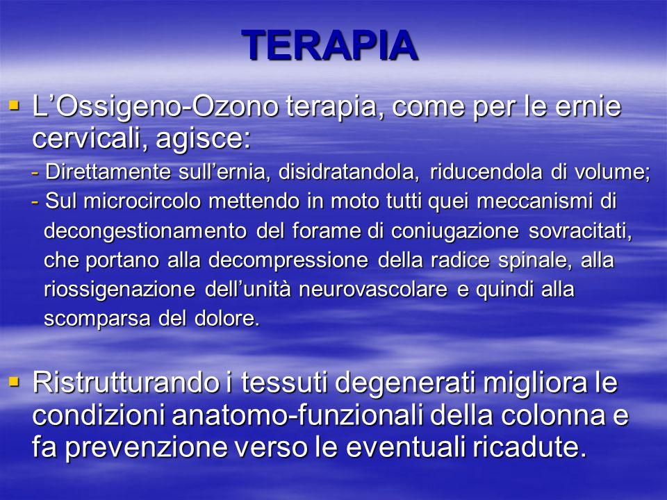 TERAPIA LOssigeno-Ozono terapia, come per le ernie cervicali, agisce: LOssigeno-Ozono terapia, come per le ernie cervicali, agisce: - Direttamente sul
