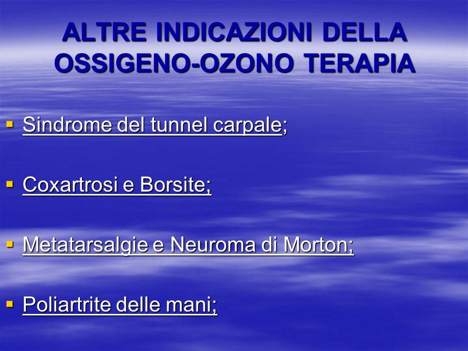 ALTRE INDICAZIONI DELLA OSSIGENO-OZONO TERAPIA Sindrome del tunnel carpale; Sindrome del tunnel carpale; Coxartrosi e Borsite; Coxartrosi e Borsite; M