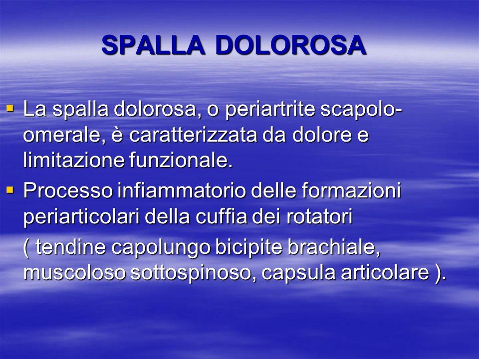 SPALLA DOLOROSA La spalla dolorosa, o periartrite scapolo- omerale, è caratterizzata da dolore e limitazione funzionale. La spalla dolorosa, o periart