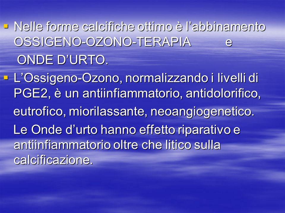 Nelle forme calcifiche ottimo è labbinamento OSSIGENO-OZONO-TERAPIA e Nelle forme calcifiche ottimo è labbinamento OSSIGENO-OZONO-TERAPIA e ONDE DURTO