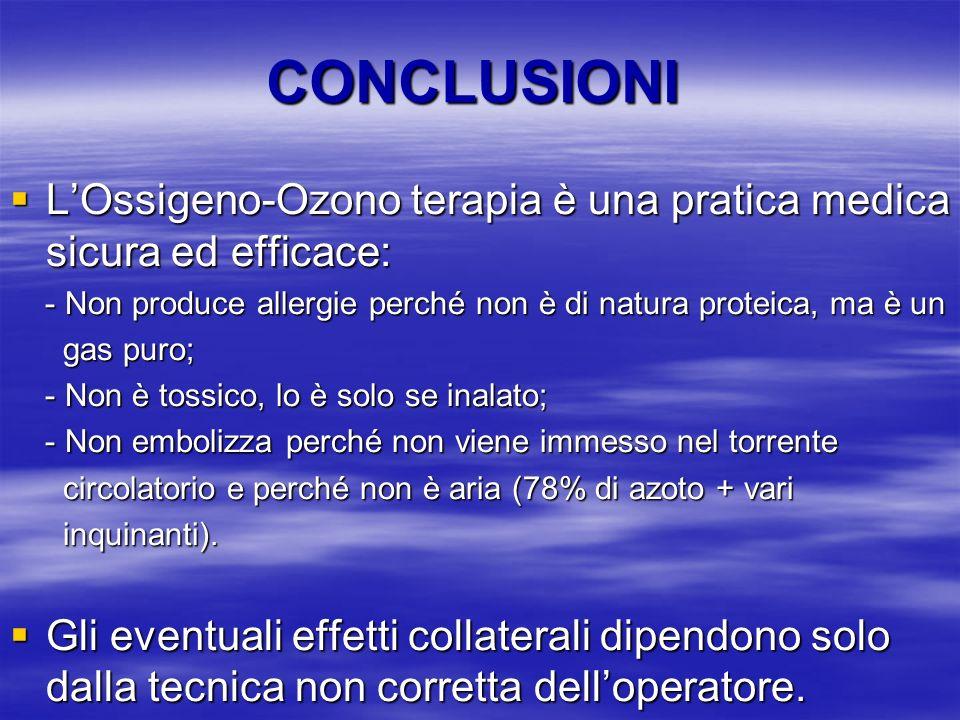CONCLUSIONI LOssigeno-Ozono terapia è una pratica medica sicura ed efficace: LOssigeno-Ozono terapia è una pratica medica sicura ed efficace: - Non pr