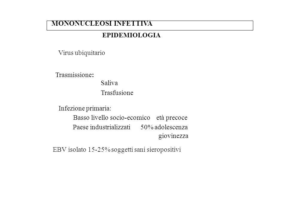 MONONUCLEOSI INFETTIVA EPIDEMIOLOGIA Virus ubiquitario Trasmissione: Saliva Trasfusione Infezione primaria: Basso livello socio-ecomico età precoce Pa