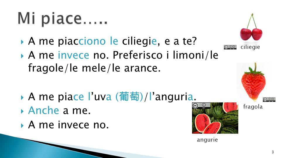 A me piacciono le ciliegie, e a te? A me invece no. Preferisco i limoni/le fragole/le mele/le arance. A me piace luva ( )/languria. Anche a me. A me i