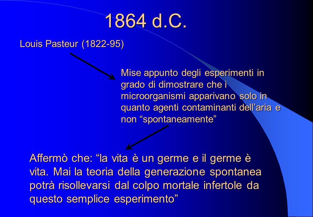 1860 circa Accademia della scienze a Parigi Offrì un premio per chi realizasse esperimenti capaci di far luce sul problema Premio vinto nel 1864 dallo