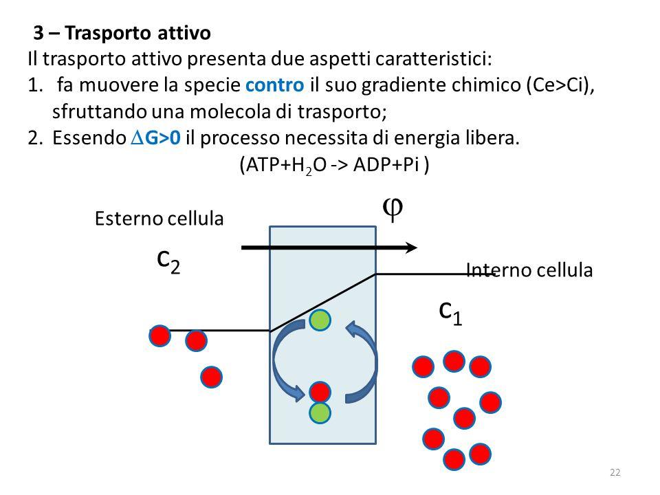 Il trasporto attivo presenta due aspetti caratteristici: 1. fa muovere la specie contro il suo gradiente chimico (Ce>Ci), sfruttando una molecola di t