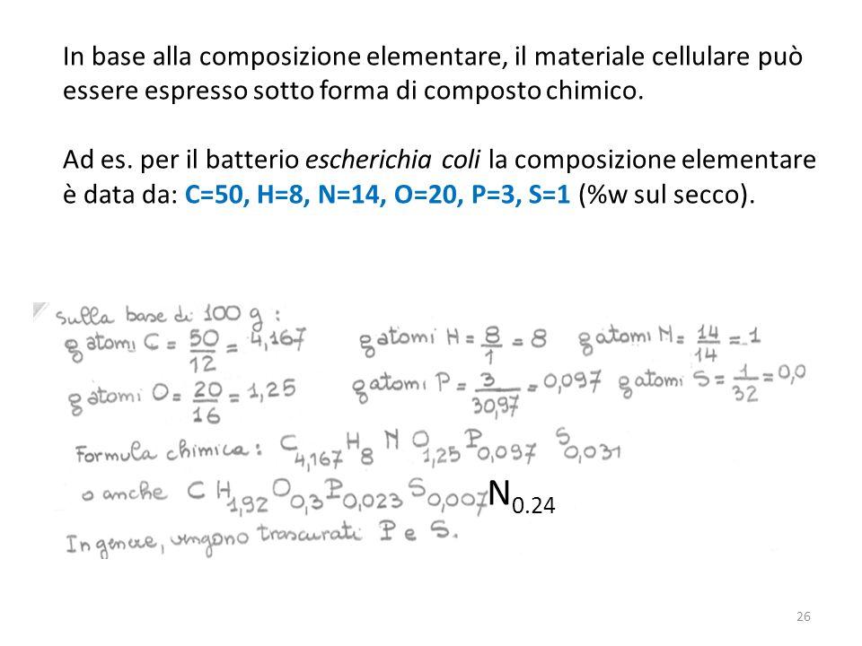 In base alla composizione elementare, il materiale cellulare può essere espresso sotto forma di composto chimico. Ad es. per il batterio escherichia c
