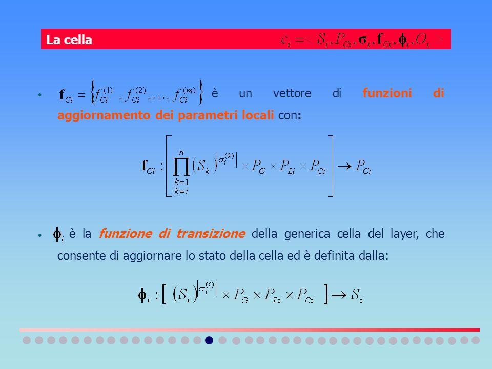 è un vettore di funzioni di aggiornamento dei parametri locali con: è la funzione di transizione della generica cella del layer, che consente di aggio