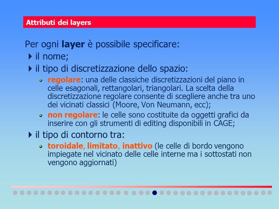 Attributi dei layers Per ogni layer è possibile specificare: il nome; il tipo di discretizzazione dello spazio: regolare: una delle classiche discreti