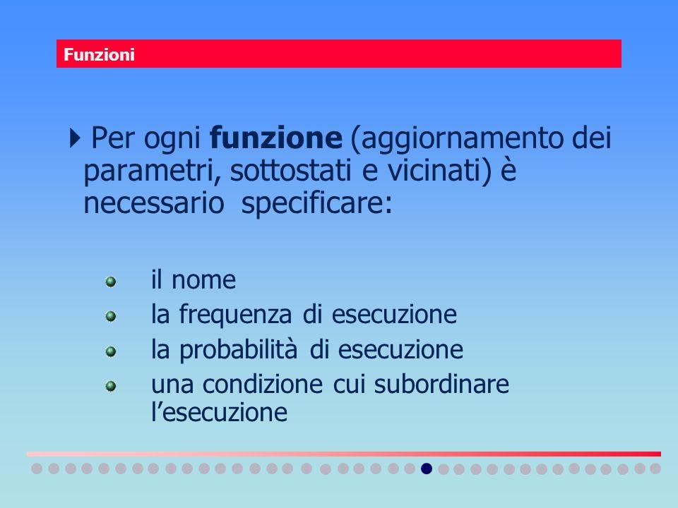Funzioni Per ogni funzione (aggiornamento dei parametri, sottostati e vicinati) è necessario specificare: il nome la frequenza di esecuzione la probab