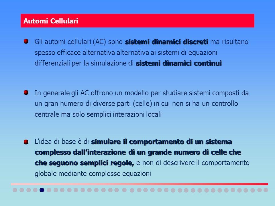 Automi Cellulari sistemi dinamici discreti sistemi dinamici continui Gli automi cellulari (AC) sono sistemi dinamici discreti ma risultano spesso effi