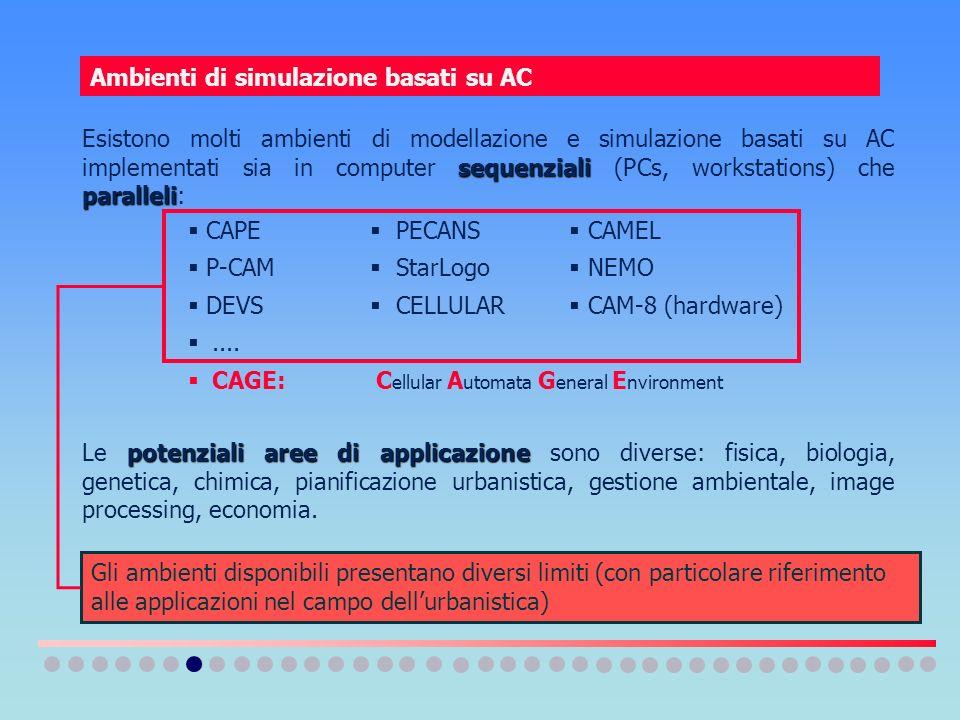 Ambienti di simulazione basati su AC sequenziali paralleli Esistono molti ambienti di modellazione e simulazione basati su AC implementati sia in comp