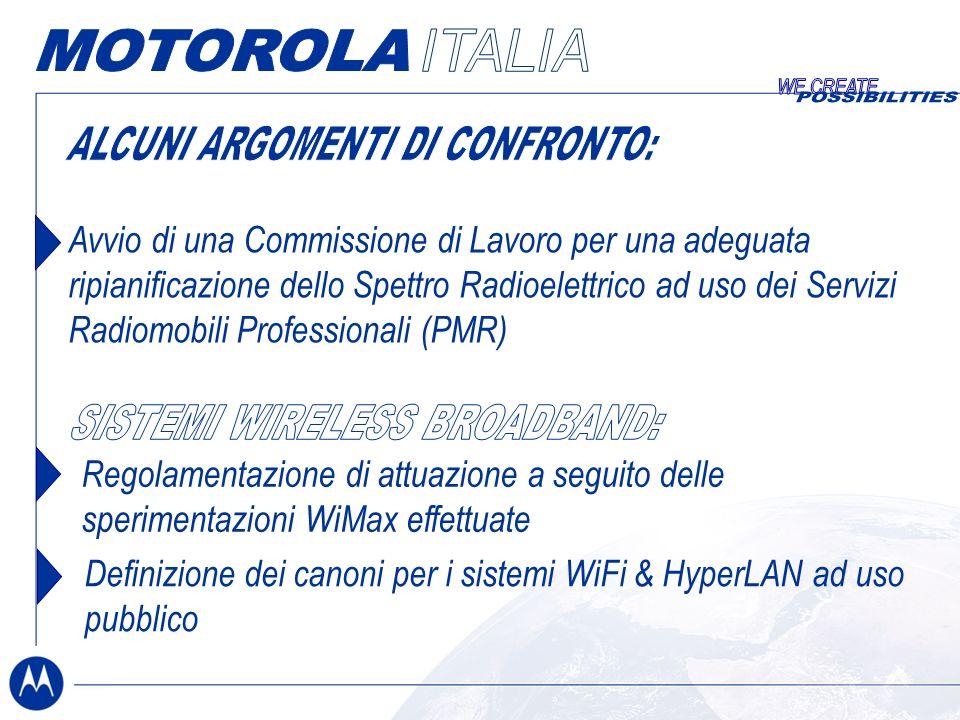 Avvio di una Commissione di Lavoro per una adeguata ripianificazione dello Spettro Radioelettrico ad uso dei Servizi Radiomobili Professionali (PMR) Regolamentazione di attuazione a seguito delle sperimentazioni WiMax effettuate Definizione dei canoni per i sistemi WiFi & HyperLAN ad uso pubblico
