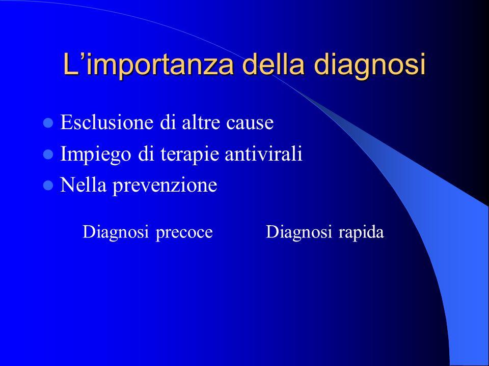Approcci diagnostici Diagnosi indiretta (sierologica) – Sieroconversione – Aumento del titolo – Presenza di IgM specifiche – Avidità delle IgG Diagnosi diretta Ricerca del virus (o di sue componenti) Manifestazioni cliniche Il rischio infettivo in ambito trasfusionale