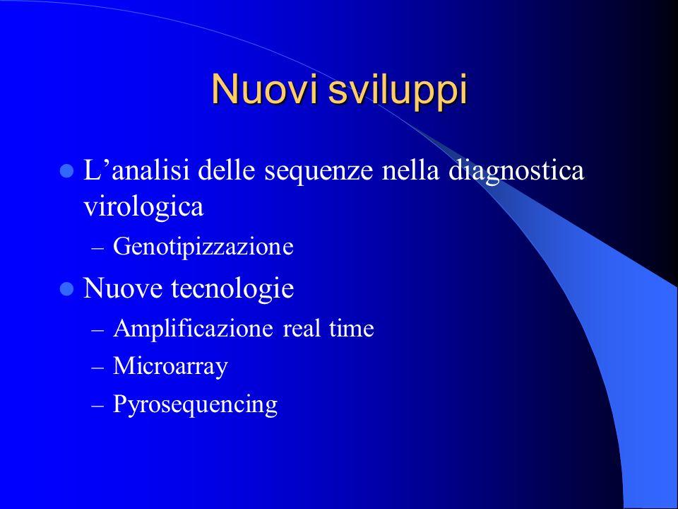 Nuovi sviluppi Lanalisi delle sequenze nella diagnostica virologica – Genotipizzazione Nuove tecnologie – Amplificazione real time – Microarray – Pyro