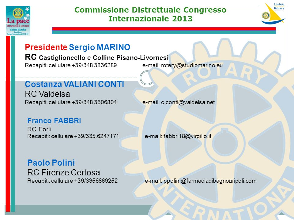 Commissione Distrettuale Congresso Internazionale 2013 Costanza VALIANI CONTI RC Valdelsa Recapiti: cellulare +39/348 3506804 e-mail: c.conti@valdelsa