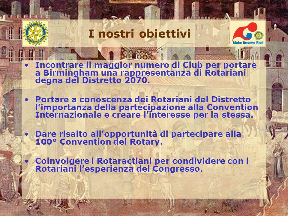 I nostri obiettivi Incontrare il maggior numero di Club per portare a Birmingham una rappresentanza di Rotariani degna del Distretto 2070.