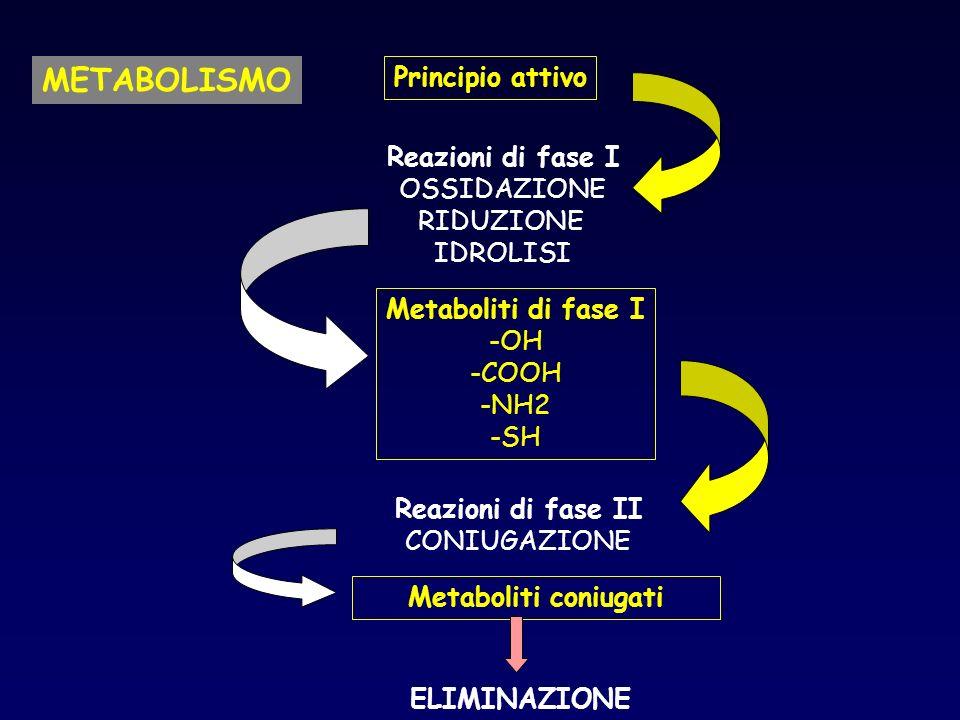 METABOLISMO Principio attivo Reazioni di fase I OSSIDAZIONE RIDUZIONE IDROLISI Metaboliti di fase I -OH -COOH -NH2 -SH Reazioni di fase II CONIUGAZIONE Metaboliti coniugati ELIMINAZIONE