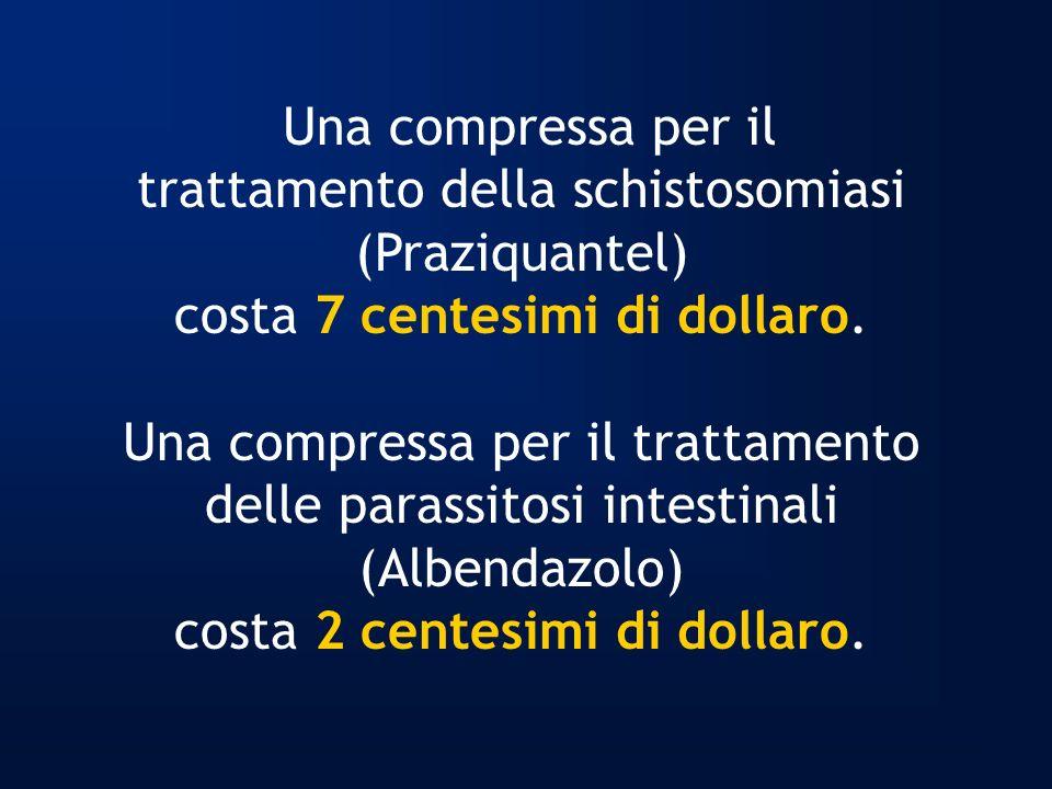 Una compressa per il trattamento della schistosomiasi (Praziquantel) costa 7 centesimi di dollaro. Una compressa per il trattamento delle parassitosi