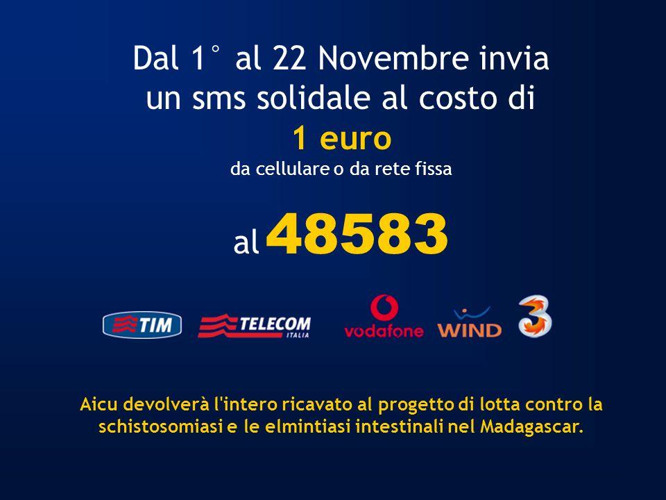 Dal 1° al 22 Novembre invia un sms solidale al costo di 1 euro da cellulare o da rete fissa al 48583 Aicu devolverà l'intero ricavato al progetto di l