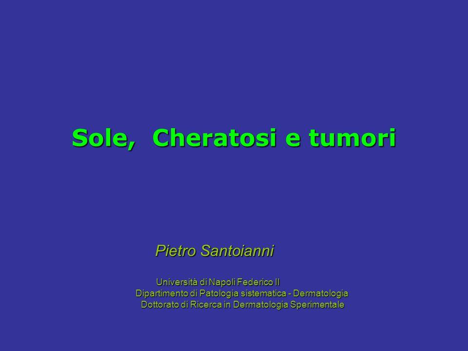 Sole, Cheratosi e tumori Pietro Santoianni Università di Napoli Federico II Università di Napoli Federico II Dipartimento di Patologia sistematica - D