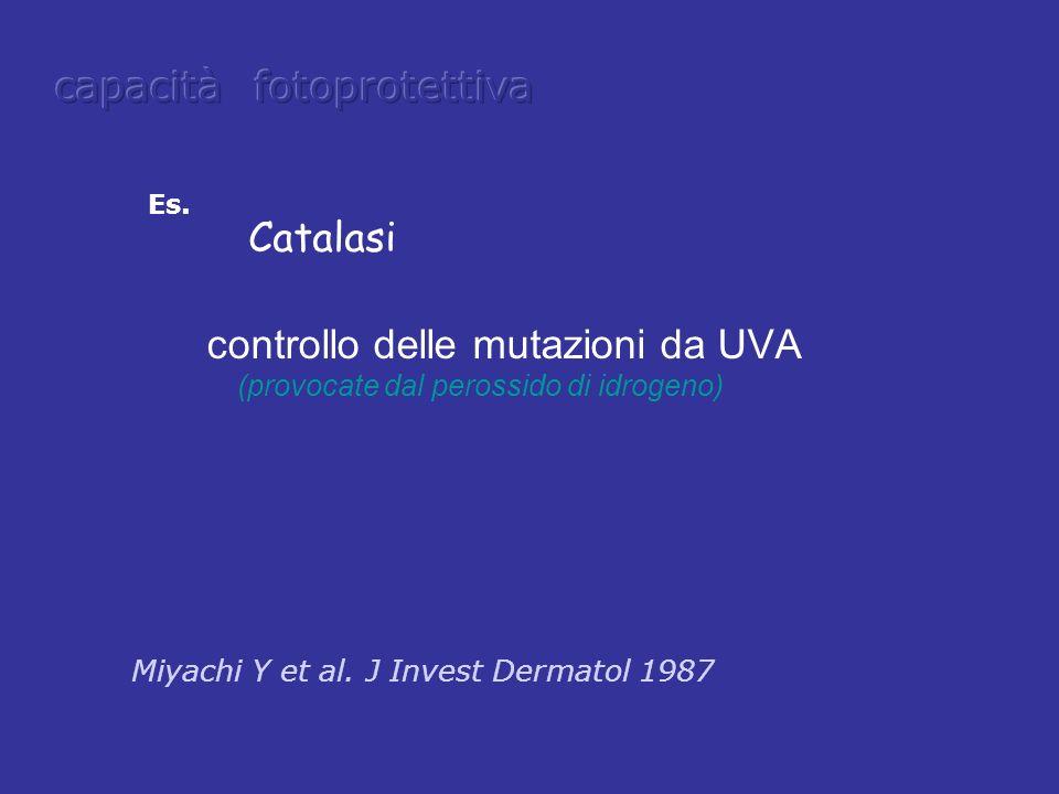 Es. controllo delle mutazioni da UVA (provocate dal perossido di idrogeno) Catalasi Miyachi Y et al. J Invest Dermatol 1987