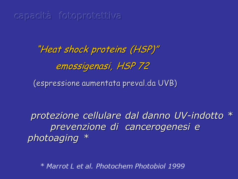 Heat shock proteins (HSP) Heat shock proteins (HSP) emossigenasi, HSP 72 emossigenasi, HSP 72 (espressione aumentata preval.da UVB) (espressione aumen