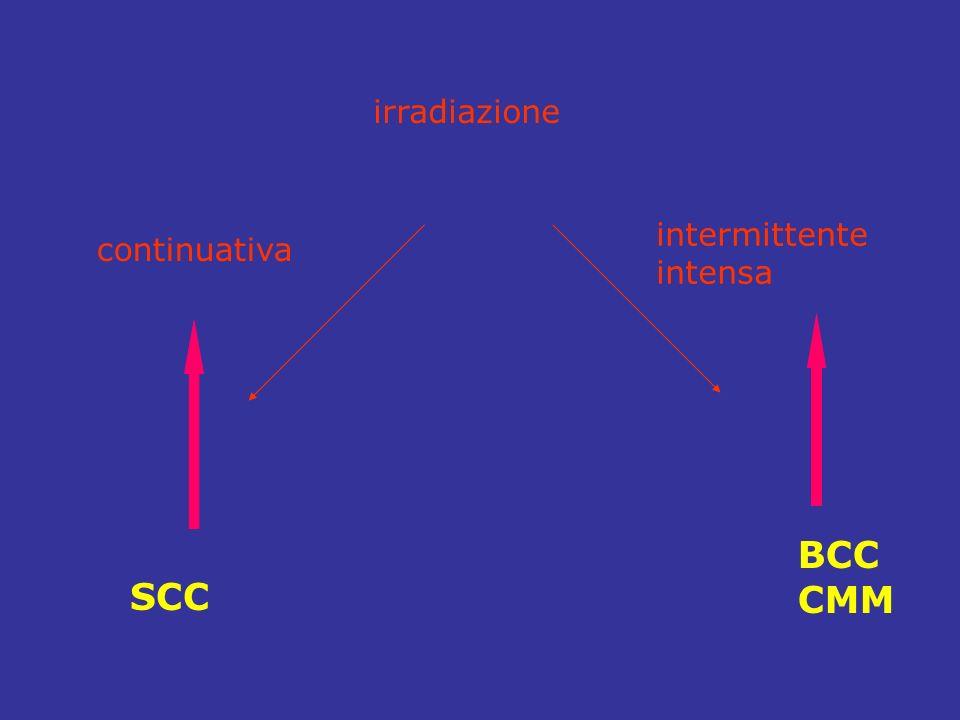 irradiazione continuativa intermittente intensa BCC CMM SCC