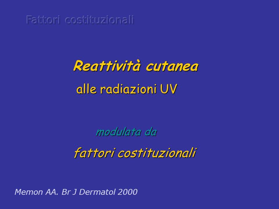 Memon AA. Br J Dermatol 2000 Reattività cutanea alle radiazioni UV alle radiazioni UV modulata da modulata da fattori costituzionali