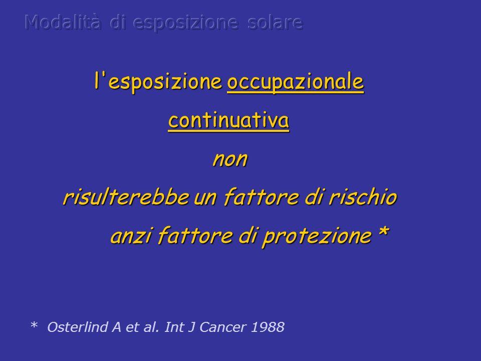 l'esposizione occupazionale continuativanon risulterebbe un fattore di rischio anzi fattore di protezione * anzi fattore di protezione * * Osterlind A