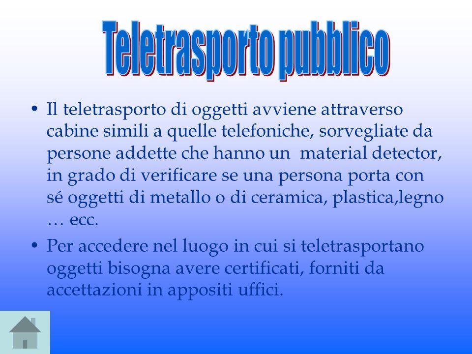 Il teletrasporto di oggetti avviene attraverso cabine simili a quelle telefoniche, sorvegliate da persone addette che hanno un material detector, in g