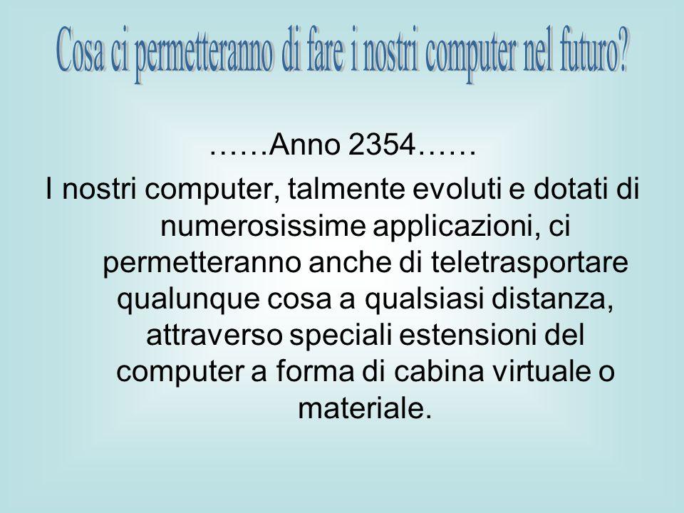 ……Anno 2354…… I nostri computer, talmente evoluti e dotati di numerosissime applicazioni, ci permetteranno anche di teletrasportare qualunque cosa a qualsiasi distanza, attraverso speciali estensioni del computer a forma di cabina virtuale o materiale.